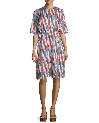 Harold Half-Sleeve Printed Dress, Ivory/Multi