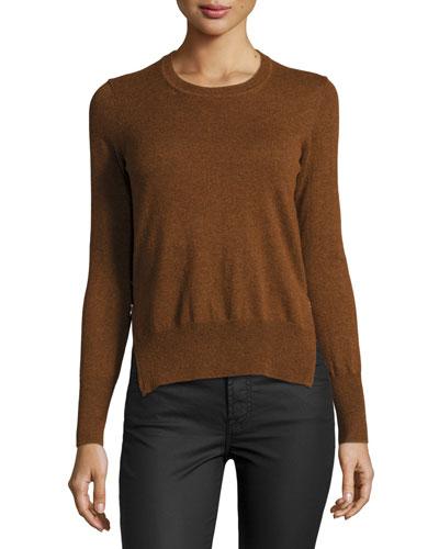 Kessy Knit Side-Zip Sweater, Rust