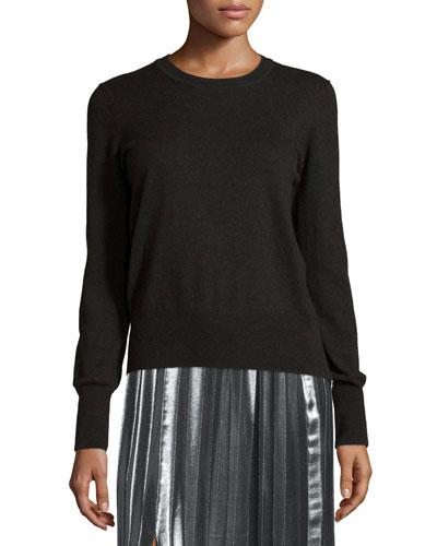 Kessy Knit Crewneck Sweater, Black