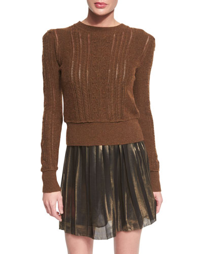 Kalyn Open-Knit Sweater, Brown