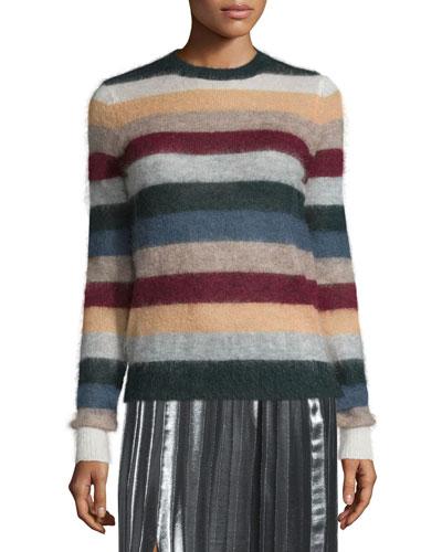 Cassy Striped Mohair-Blend Sweater, Rust