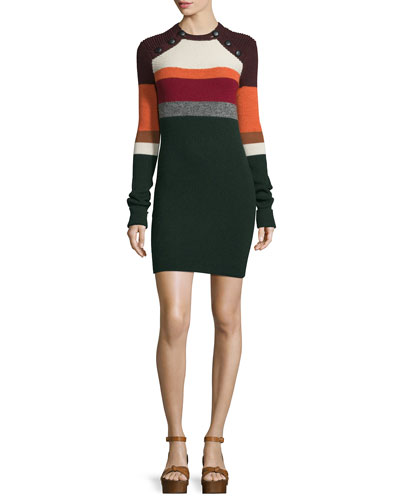 Duffy Striped Knit Sweaterdress, Dark Green