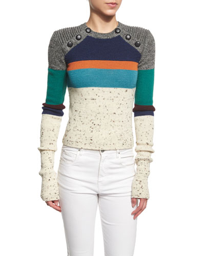 Doyle Knit Colorblock Sweater, Ivory/Multi