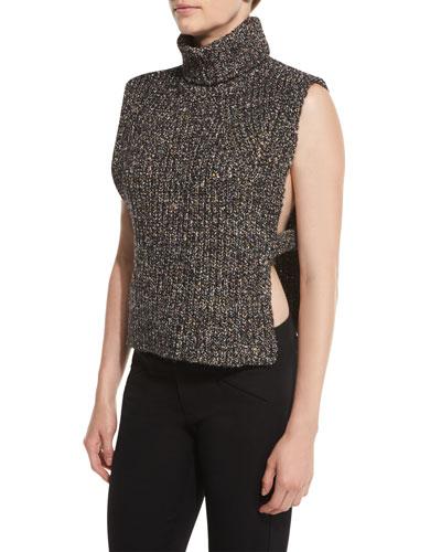 Haway Sleeveless Side-Vent Turtleneck Sweater, Black/Multi