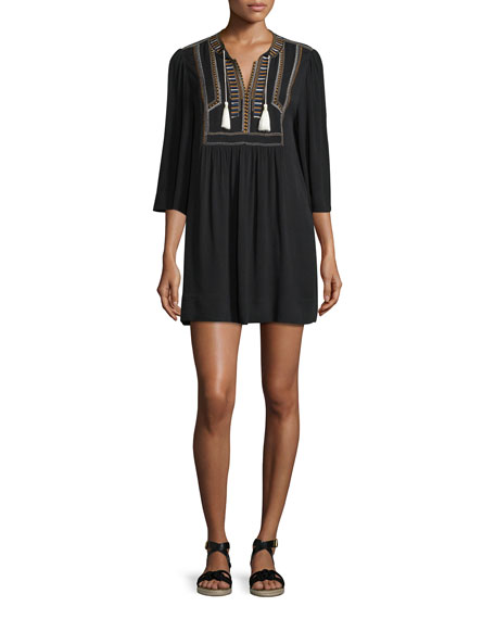 e22fdd1ce8 Etoile Isabel Marant Clara Embroidered 3/4-Sleeve Tunic Dress, Black