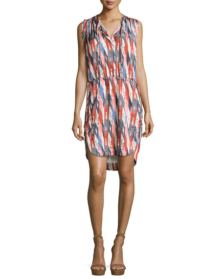 Hollis Sleeveless Drawstring Dress, Ivory