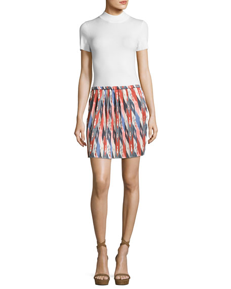 Hanoi Pleated Mini Skirt, Ivory
