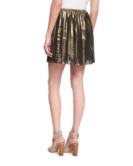 Manda Pleated Metallic Mini Skirt, Gold