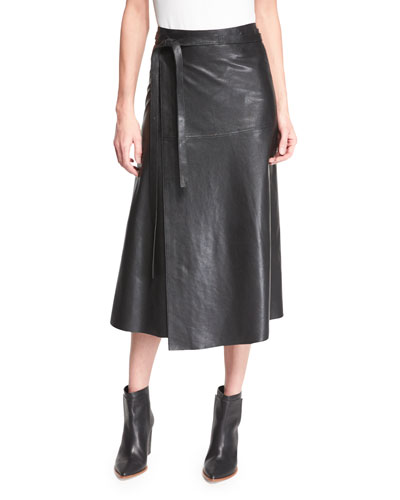 Leather A-Line Wrap Skirt, Black