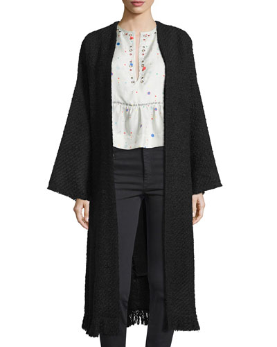 Long Knit Open-Front Duster Coat, Ecru/Black