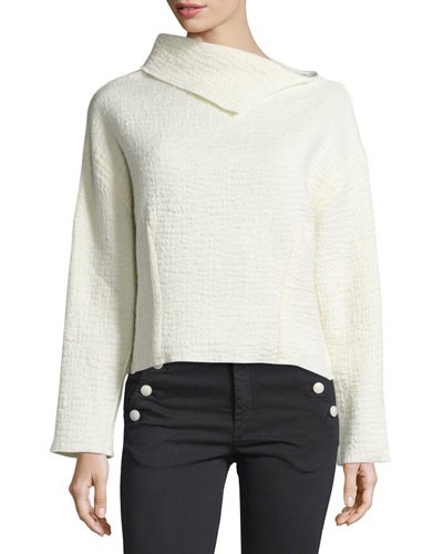 Lightweight Wool Mock-Neck Top, Ecru