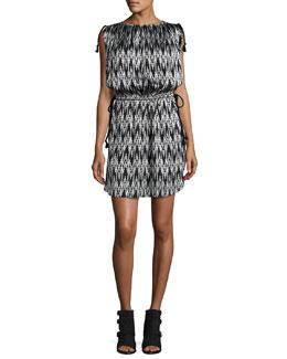 Tassel-Tie Ikat-Print Dress, Black