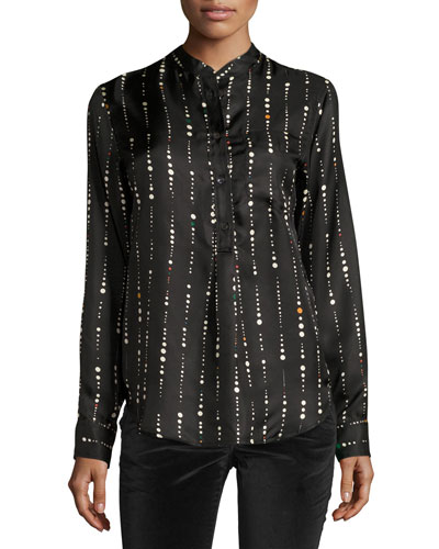 Vertical Space Dot-Print Silk Blouse, Black