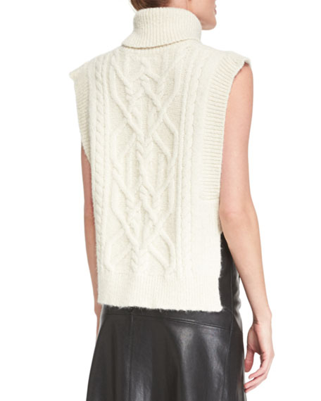 d85b9ae80083 Isabel Marant Sleeveless Open-Side Cable-Knit Turtleneck Sweater
