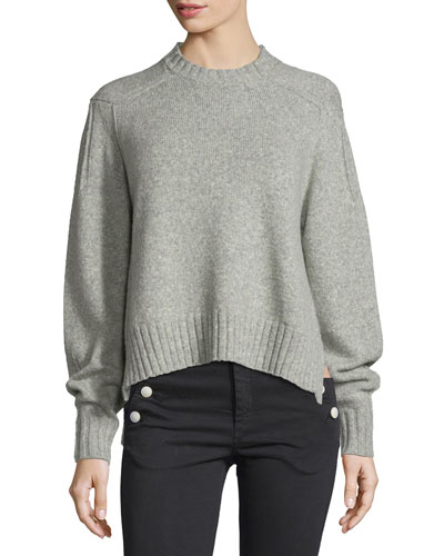 Long-Sleeve Crewneck Sweater, Light Gray