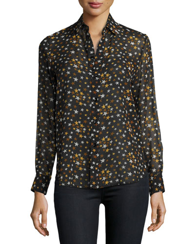 Star-Print Silk Georgette Blouse, Black/Brown