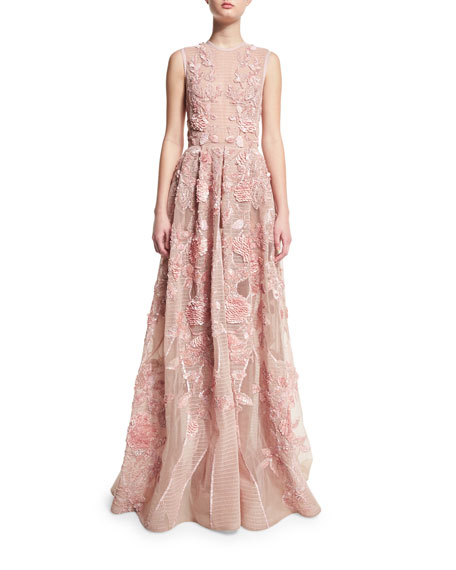 Sleeveless Embroidered Silk Gown, Opal