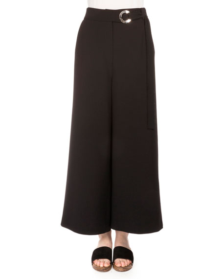 Proenza Schouler Cropped Stretch-Woven Culottes, Black