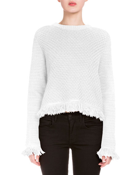 Crocheted Fringe-Trim Sweater