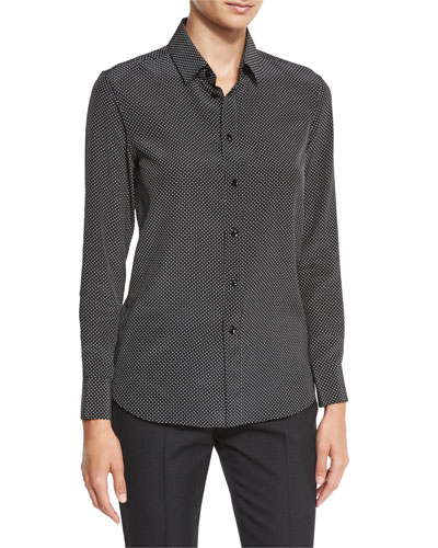 Mini Polka-Dot Silk Blouse, Black/White