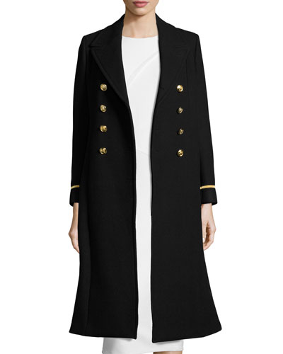 Lion-Button Long Military Coat, Black/Gold