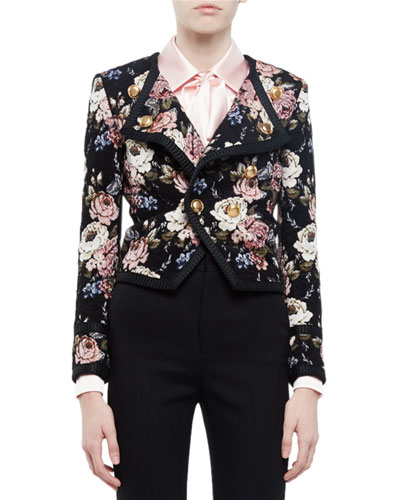 Spencer Floral-Print Jacket, Beige Rose/Black