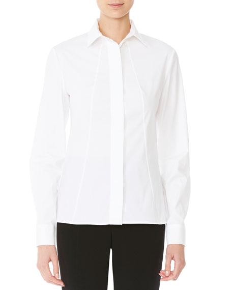 Long-Sleeve Poplin Blouse, White
