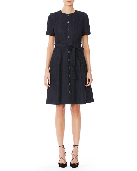 Short-Sleeve Collarless Denim Shirtdress, Indigo