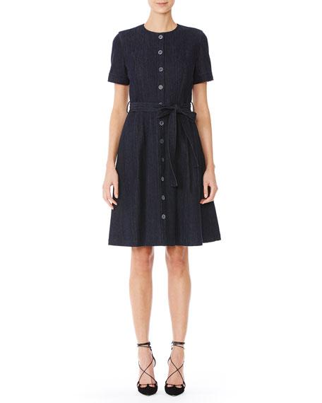 Short-Sleeve Collarless Denim Shirtdress, Indigo