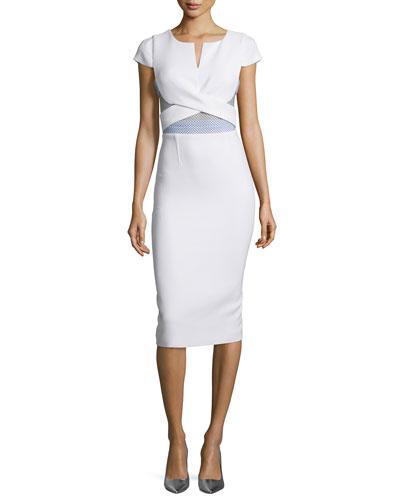 Cap-Sleeve Mesh-Trim Pencil Dress, White