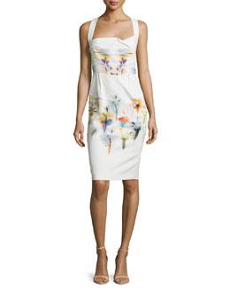 Sleeveless Floral-Print Halter Sheath Dress, Iris