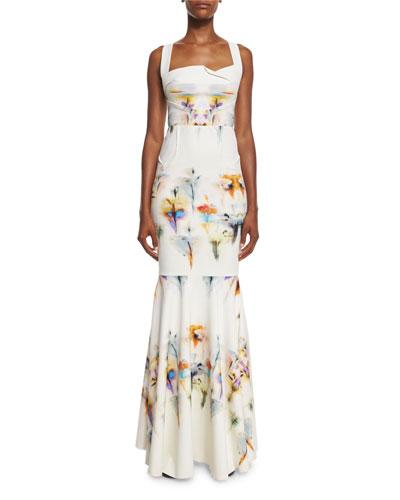 Floral-Print Halter Mermaid Gown, Iris