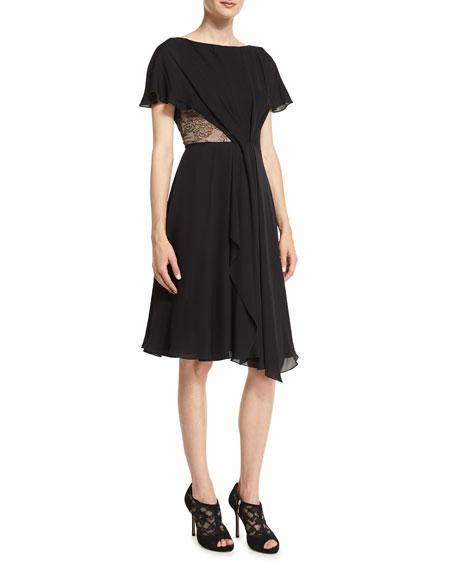 dress extreme neckline ruched skirt short flutter sleeves vestido damas honor color verde esmeralda honor color