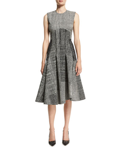 Sleeveless Houndstooth Jacquard Dress, Black/Chalk