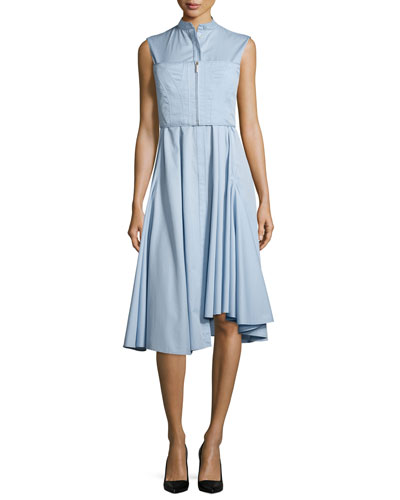 Sleeveless Twill Shirting Dress, Lake Blue