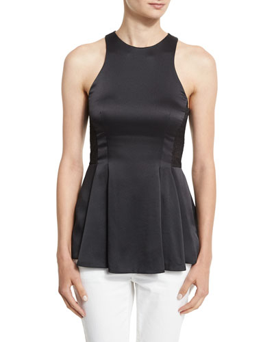 Satin Racerback Peplum Top, Black