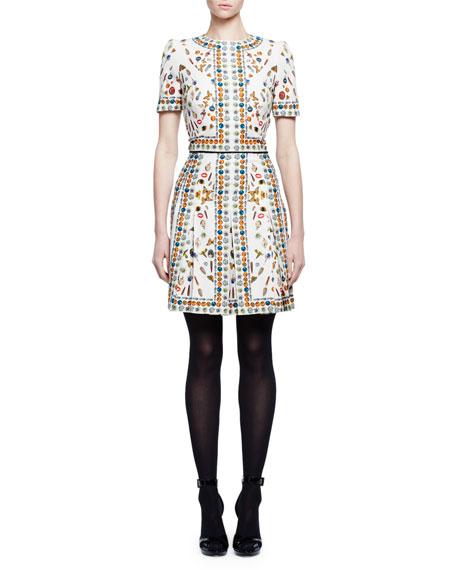 Obsession-Print Short-Sleeve Silk Dress, Ivory