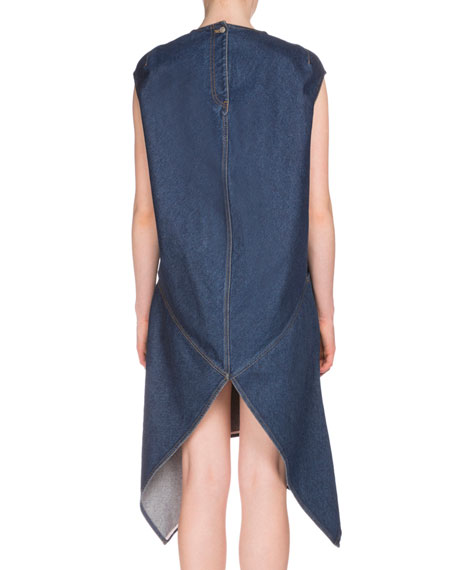 Cap-Sleeve Denim Handkerchief Dress, Indigo