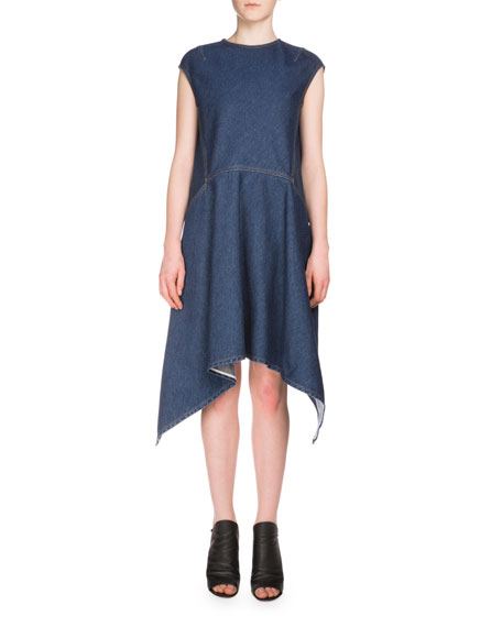 Cap-Sleeve Denim Handkerchief Dress, Indigo