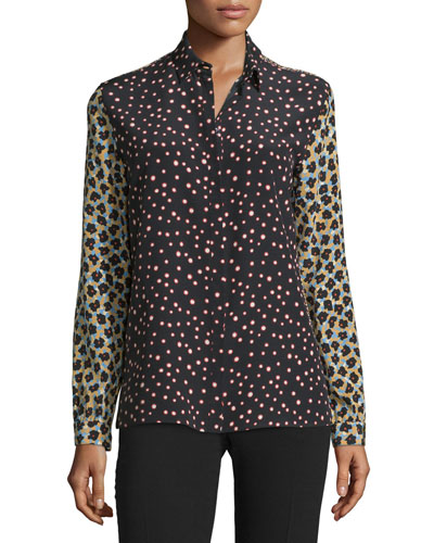 Mixed Polka-Dot Silk Crepe Blouse, Black/Multi