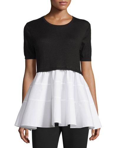 Half-Sleeve Cashmere Sweater & Poplin Combo Top, White/Black