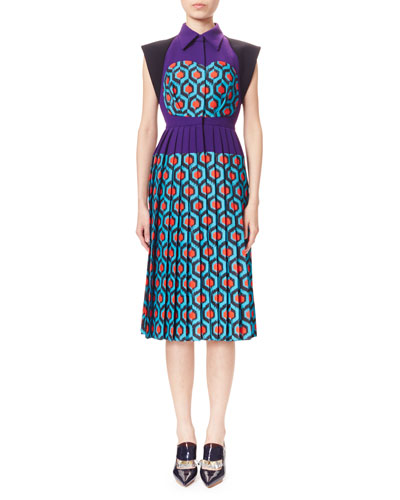 Pleated Combo-Print Shirtdress, Blue