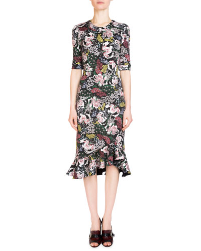 Lucy Floral-Print Half-Sleeve Dress, Pink/Black