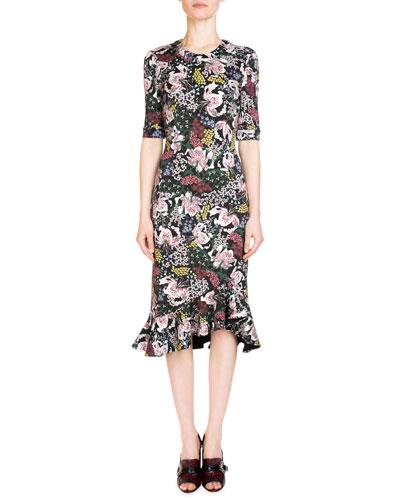 Lucy Floral-Print Half-Sleeve Dress, Pink/Black