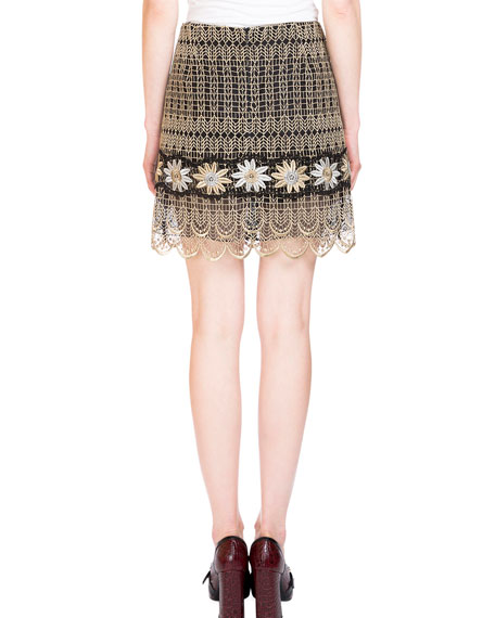 Mari Metallic Embroidered Mini Skirt, Gold