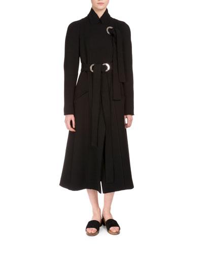 Wool A-Line Coat w/Grommet Ties, Black