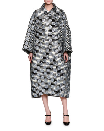 Embroidered Polka Dot Houndstooth Coat, Silver/Multi
