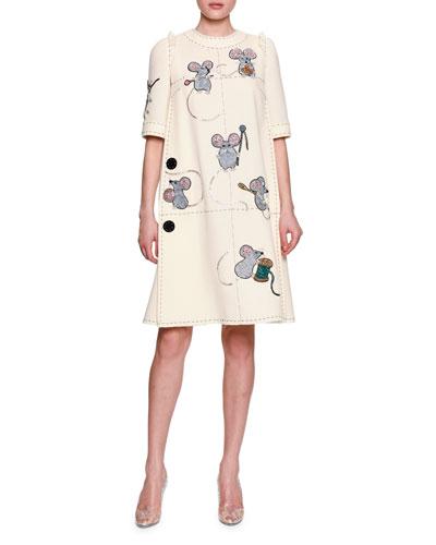 Mice Sewing Short-Sleeve Dress, White
