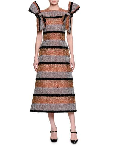 Embellished-Stripe Bow-Sleeve Dress, Gold/Silver/Black