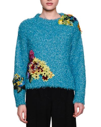 Floral-Embellished Tinsel Sweater, Blue